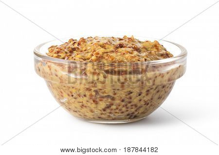 Bowl with mustard isolated on white background