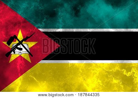 Mozambique flag grunge background. Background for design in country flag