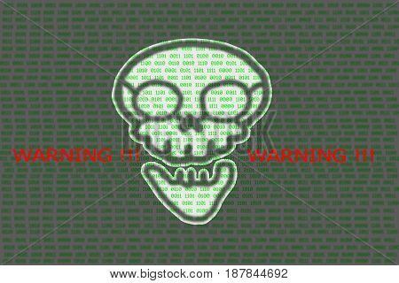 Human skull in digital background / Concept of network security cyber attack computer virus ransomware warning.