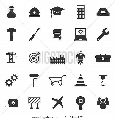 Engineering icons on white background, stock vector