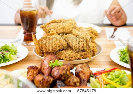 Chicken salad and drink on dinning table ready to eat