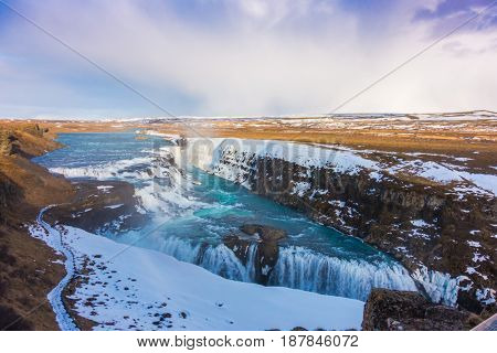 Beautiful famous waterfall in Iceland,winter season