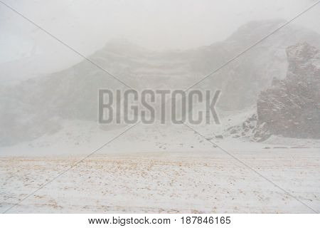 Snow covered mountain Iceland winter season