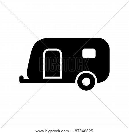 Caravan Trailer Icon Simple Flat Vector Illustration