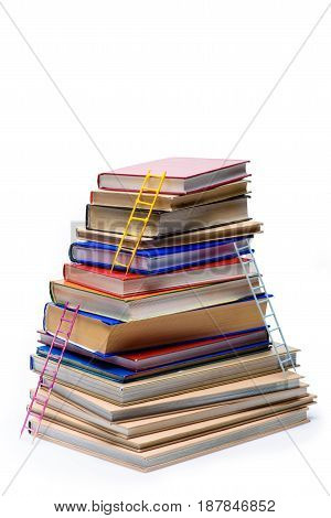Stack Of Books With Ladders Isolated On White, Educational Concept