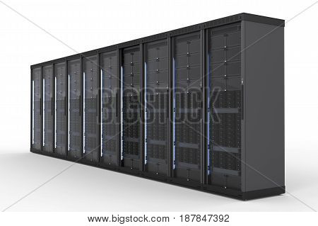 3d rendering server computer cluster on white background