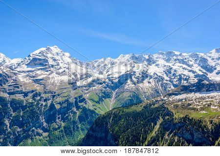 The Swiss Alps at Murren, Switzerland. Jungfrau Region. The valley of Lauterbrunnen from Interlaken.