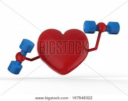 Red Heart Holding Dumbbells