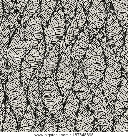 Seamless abstract vector pattern with hand drawn structural motive. Endless linear wavy texture.