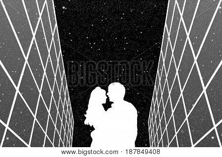Lovers between glass buildings at night. Vector illustration with silhouette of loving couple under starry sky. Black and White