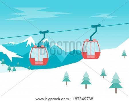 Cartoon Car Cabins Cableway in Mountains Flat Style Design Equipment Winter Tourism. Vector illustration