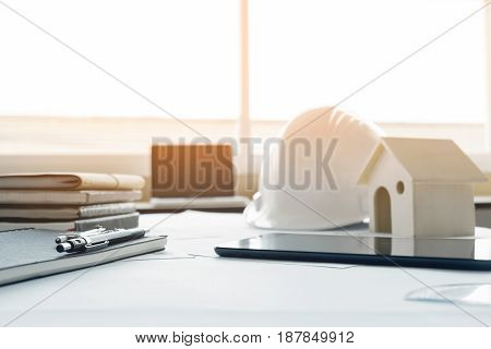 Construction Equipment. Repair Work. Drawings For Building Architectural Project, Blueprint Rolls An
