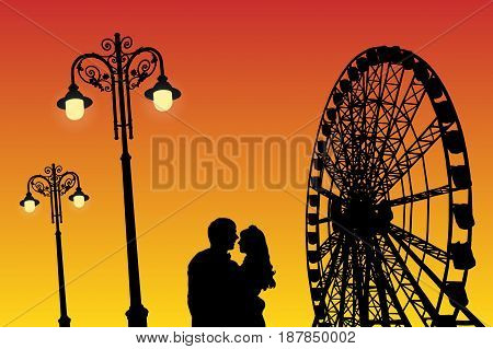 Lovers in amusement park at sunset. Vector illustration with silhouette of loving couple under starry sky. Vintage lampposts and Ferris wheel. Bright gradient background