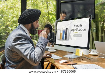 Business people with mobile application graph download illustration