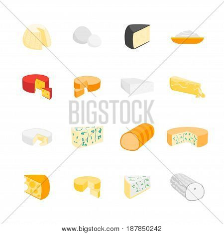 Cheese Product Dairy Set Natural Food Various Sort for Market, Cafe Card. Vector illustration