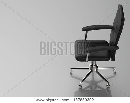 3d rendering black leather office chair on grey background