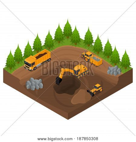 Construction Quarry with Excavators and Equipment Isometric View Engineering Transport Digger Business. Vector illustration
