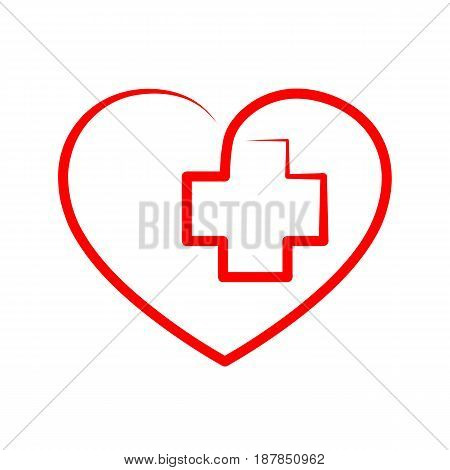 Medical cross inside in the heart symbol. Red medical sign isolated on white background. Vector illustration. Abstract medical symbol.