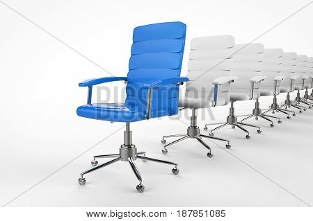 Blue Office Chair In Front Of The Row
