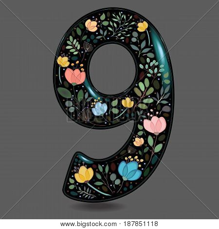 Number Nine with Floral Decor. Black glared numeral. Colorful graceful flowers plants and blurs with watercolor effect. Gray background. Vector Illustration