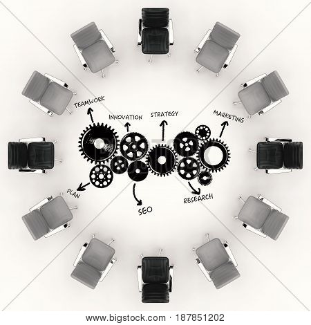 Business Conference Concept With Office Chairs And Business Plan