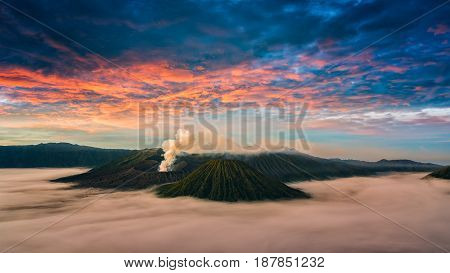 landscape Mount Bromo volcano (Gunung Bromo) during sunrise from viewpoint on Mount Penanjakan. landscape Mount Bromo located in Bromo Tengger Semeru National Park East Java Indonesia. bromo landscape. beautiful landscape.
