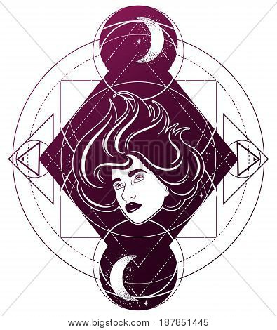 Vector hand drawn surreal illustration of woman face moon and stars. Tattoo artwork. Template for card poster banner print for t-shirt.