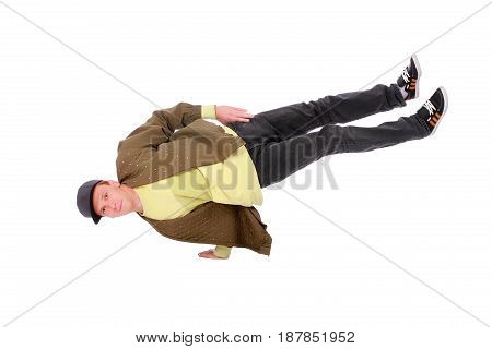 Hip-hop style dancer on hand freeze isolated on white background