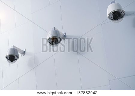 Security Camera Or Cctv Camera On Wall
