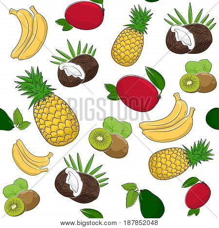 Fruit Tropical Seamless Pattern Coconut and Juicy Kiwifruit Red Mango with Fresh Pineapple Sweet Banana and Avocado Vector Illustration