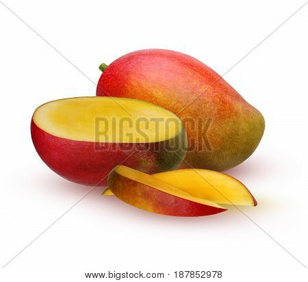 Isolated mango. Ripe mango is a fruit whole and half isolated on white background with shadows.