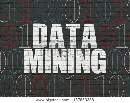 Data concept: Painted white text Data Mining on Black Brick wall background with Binary Code