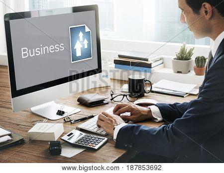 Businessman plan and analysis market growth