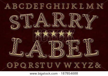 Starry label retro font. Isolated english alphabet.