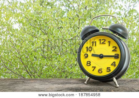 Closeup black and yellow alarm clock for decorate show a quarter past nine o'clock or 9:15 a.m. on old brown wood desk on green leaves in the park textured background