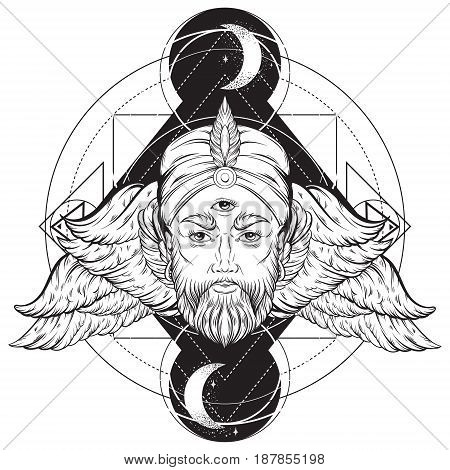 Vector hand drawn illustration of fortune teller with three eyes moon and wings. Hand sketched creative artwork. Template for card poster banner print for t-shirt. Tattoo art.
