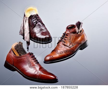 Fashion Classical Polished Men's Shades Of Brown Oxford Brogues.shoe Maintenance Set Glance Shoesclo