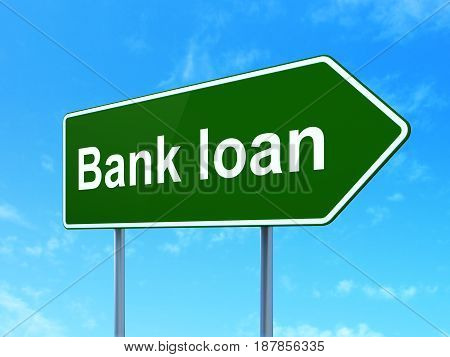 Banking concept: Bank Loan on green road highway sign, clear blue sky background, 3D rendering