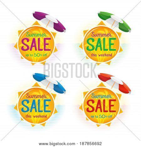Summer Sale label price tag banner badge template sticker design. Vector illustration set.