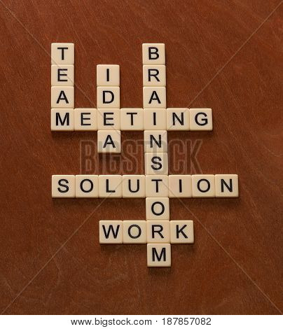 Crossword Puzzle With Words Team, Brainstorm, Solution, Idea. Problem Solving Concept.