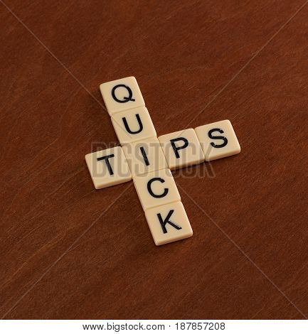 Crossword Puzzle With Words Quick Tips. Travel Guide Concept.