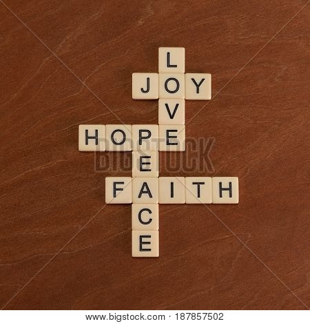 Crossword Puzzle With Words Faith, Hope, Love. Faith Concept.