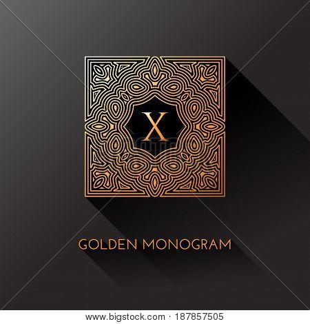 Golden elegant monogram with letter X. Template design for monogram label logo emblem. Vector illustration.