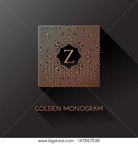 Golden elegant monogram with letter Z. Template design for monogram label logo emblem. Vector illustration.