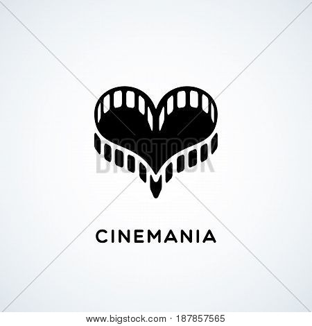 Logo design template with film in the form of heart. Vector illustration.