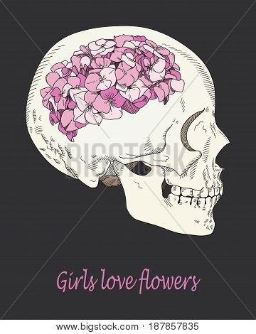 Vector conceptual illustration about women's desires. Female skull with brain in form of hydrangea flower. Girlish dreams