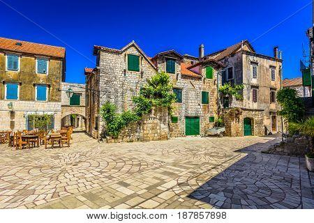 Old stone architecture in town Starigrad, Island Hvar scenery.