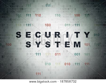 Protection concept: Painted black text Security System on Digital Data Paper background with Binary Code