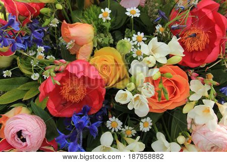 Mixed spring bouquet in various bright colors