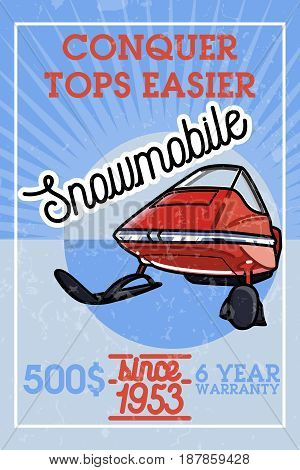 Color vintage snowmobile banner. Extreme active leisure poster.